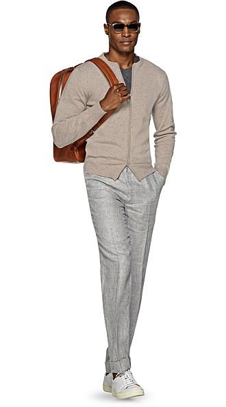 Light Brown Zip Sweater