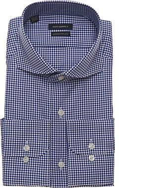 NAVY_CHECK_SHIRT_Single_Cuff_H3817