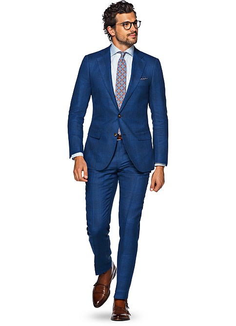 Suit Blue Check Lazio P4821i | Suitsupply Online Store