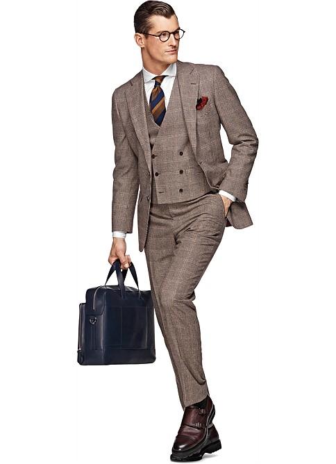Suit Brown Check Lazio P3656 | Suitsupply Online Store