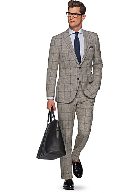 Brown Check Suit Dress Yy