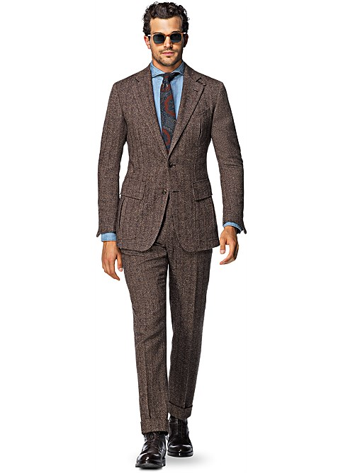 Suit Brown Herringbone Harris P4758i | Suitsupply Online Store