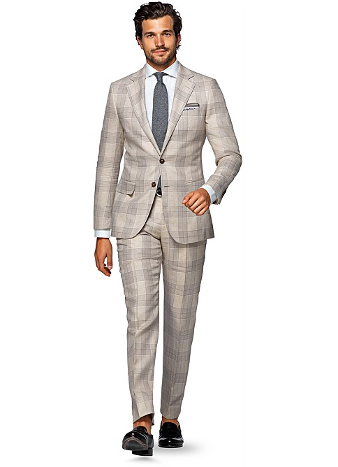 Brown Check Suit | Tulips Clothing